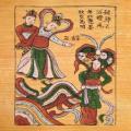 Tranh Thạch Sanh gặp công chúa - tranh dân gian Đông Hồ - Tranh dân gian Đông Hồ