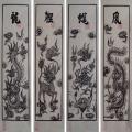 Tranh Đông Hồ Tứ Linh: Long, Lân, Quy, Phượng - chất liệu giấy dó bồi điệp - Tranh dân gian Đông Hồ