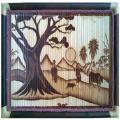 Tranh tre Phong cảnh chiều quê, chất liệu tre hun khói - Tranh tre Xuân Lai