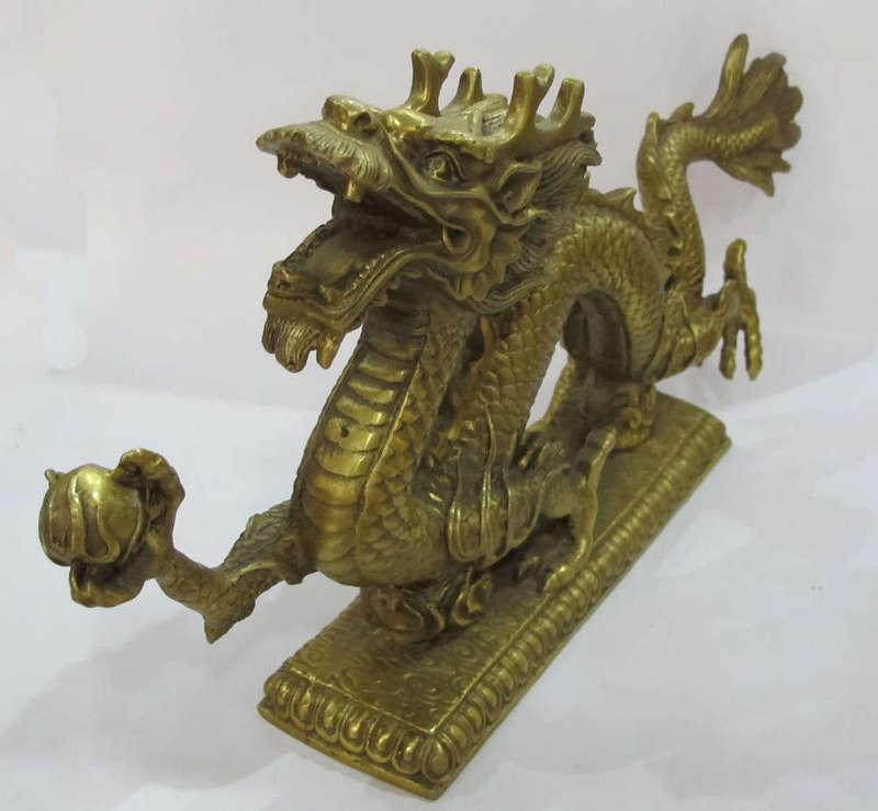 Tượng rồng chất liệu đồng vàng, đúc đồng Đại Bái