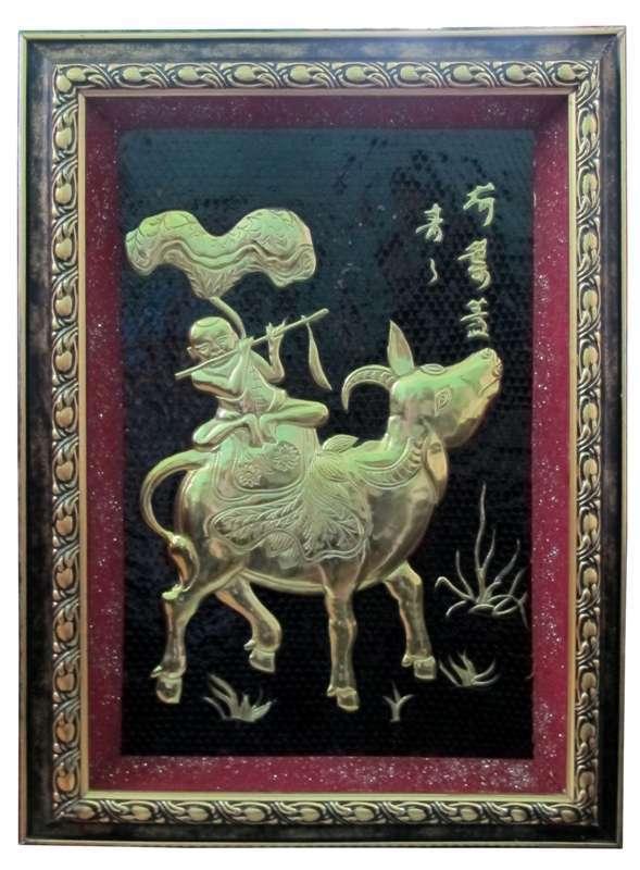 Tranh chăn Trâu thổi Sáo bằng đồng đỏ, làng nghề Đại Bái