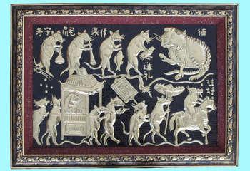 Tranh Đám Cưới Chuột, chất liệu đồng vàng, đúc đồng Đại Bái