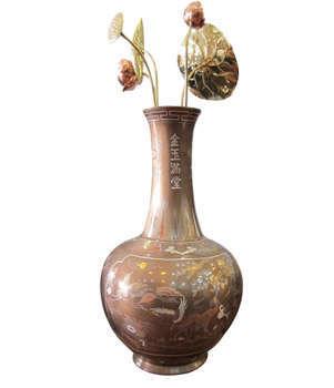 Lọ củ tỏi bằng đồng khảm ngũ sắc, hoa sen đồng