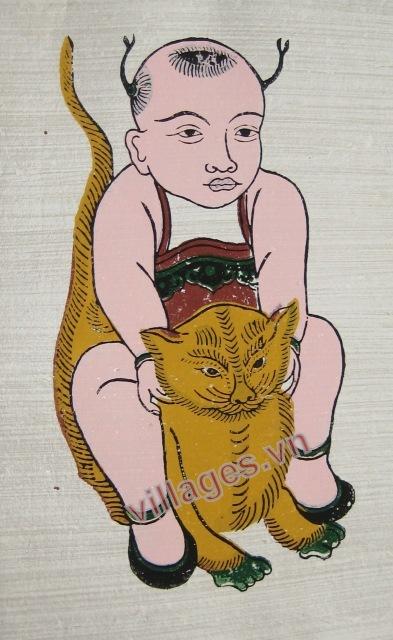 Tranh em bé ôm mèo