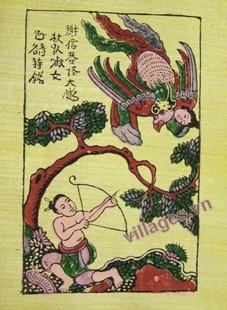 Tranh Thạch Sanh bắn đại bàng
