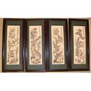 Bộ  tranh khắc gỗ tứ quý có chim công