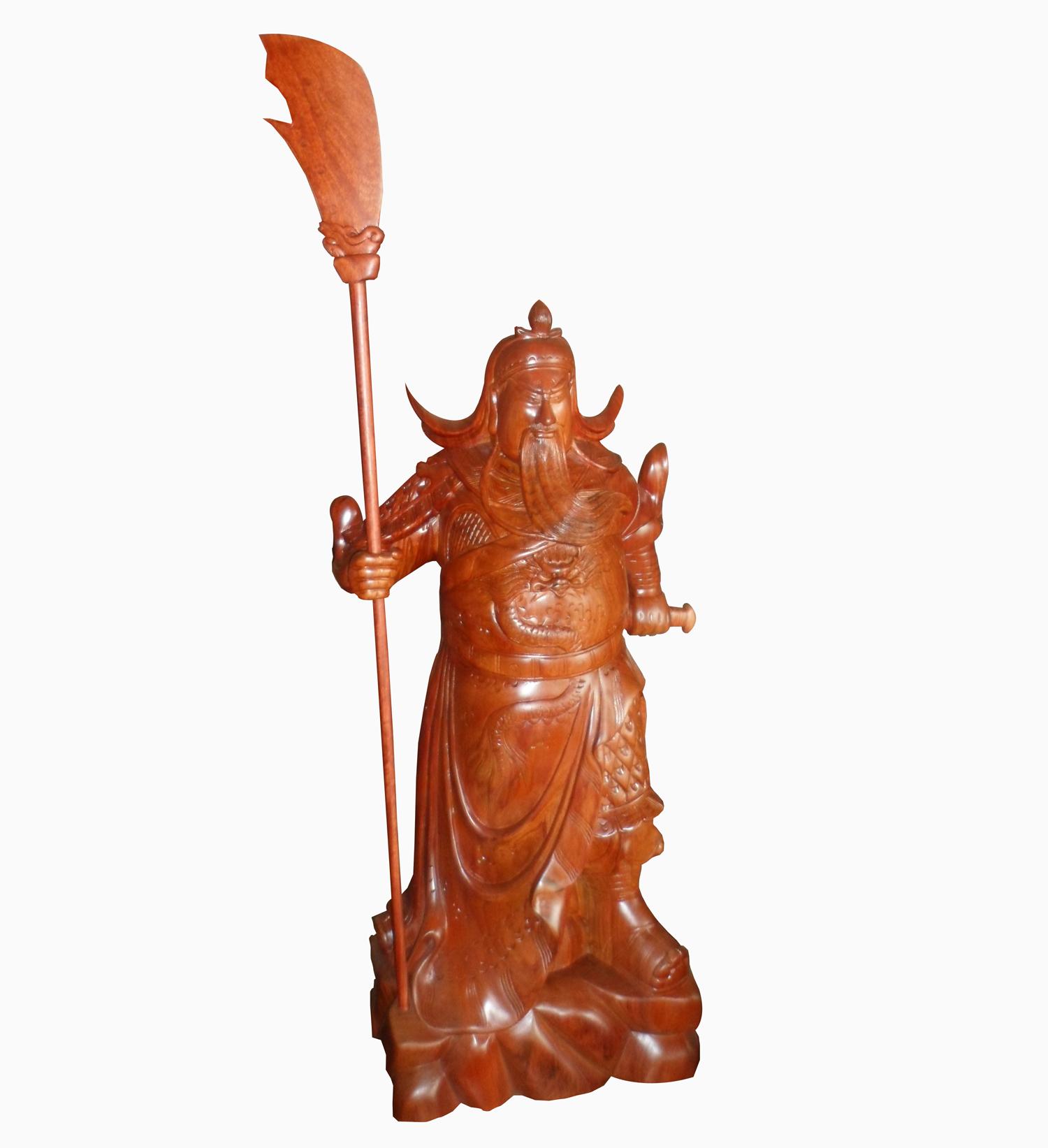 Tượng Quan Vân Trường, tư thế cầm kiếm cầm đao