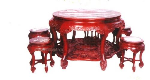 Đồ gỗ đồng kỵ: bộ bàn ăn tròn gỗ Gụ