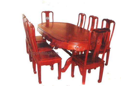 Đồ gỗ đồng kỵ: bộ bàn ăn dài gỗ Gụ