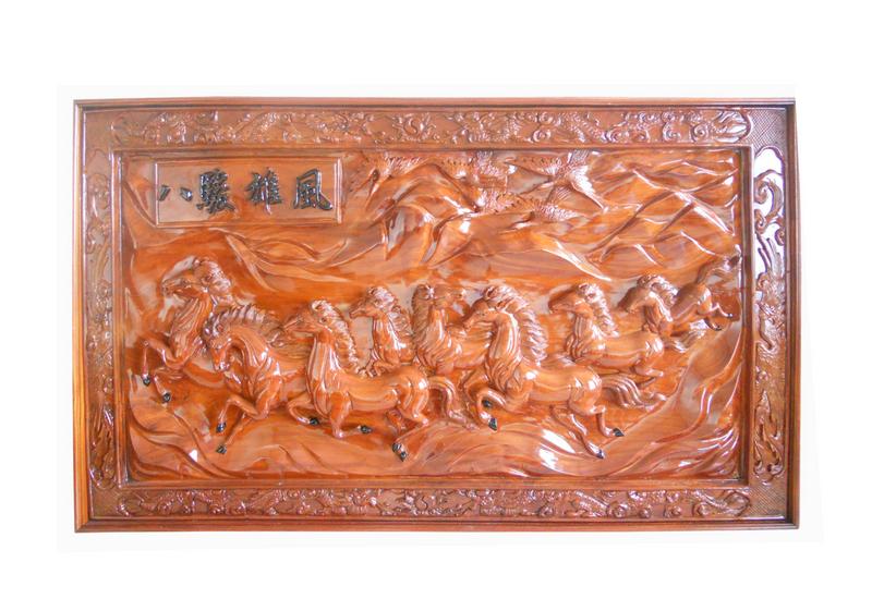 Tranh Mã Đáo Thành Công, được làm từ gỗ Hương