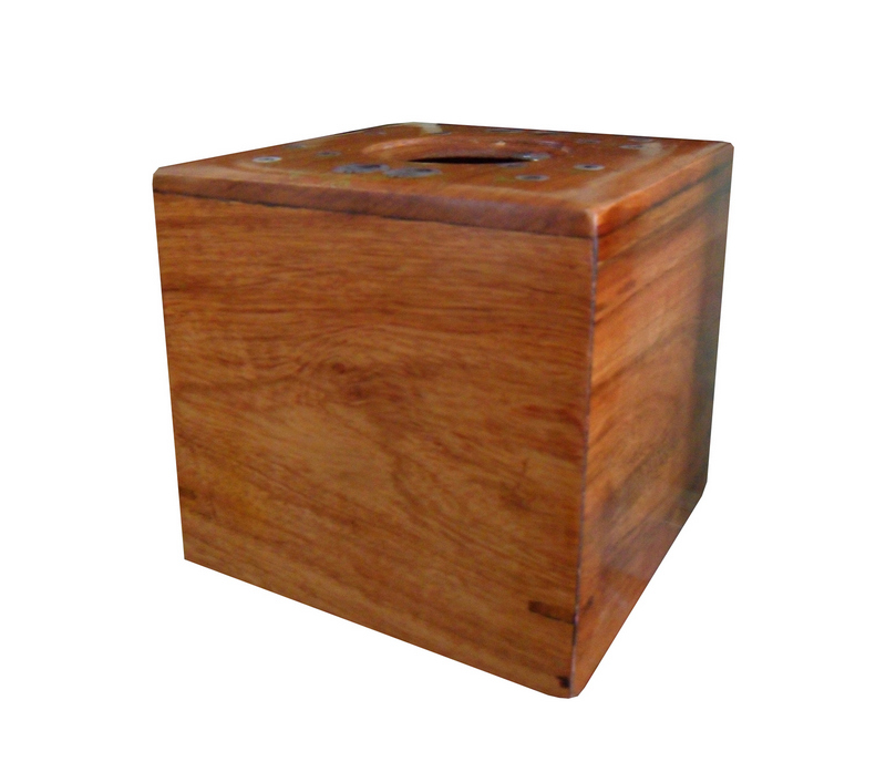 Hộp trà hình vuông, có khảm trai bề mặt nắp