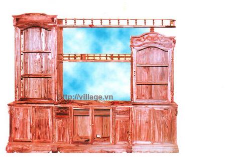Tủ phòng khách gỗ gụ