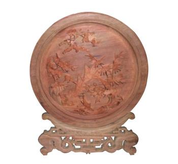 Đĩa tứ linh: Long, Lân, Quy, Phượng, gỗ hương liền khối