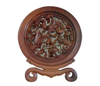 Đĩa tứ linh: Long, Lân, Quy, Phượng, trang trí phòng khách