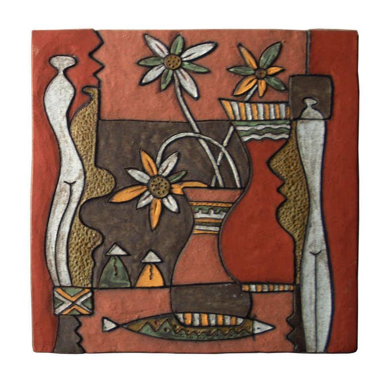 Tranh trừu tượng lọ và hoa, gốm Phù Lãng