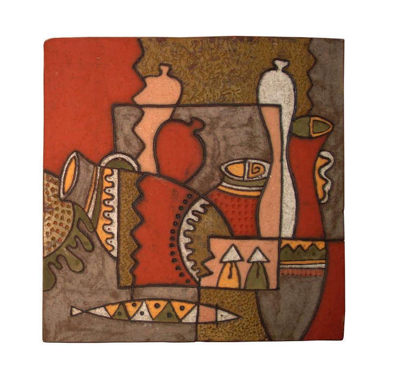 Tranh trừu tượng bình gốm, làng nghề gốm Phù Lãng