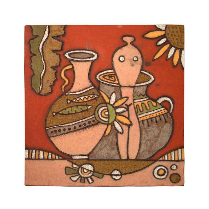 Tranh trừu tượng bình gốm tròn, làng nghề gốm sứ Phù Lãng