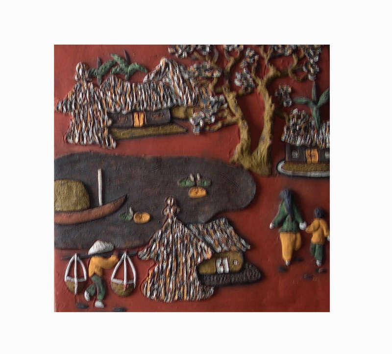 Tranh gốm cảnh gánh gồng ở nông thôn,Tranh gốm Phù Lãng