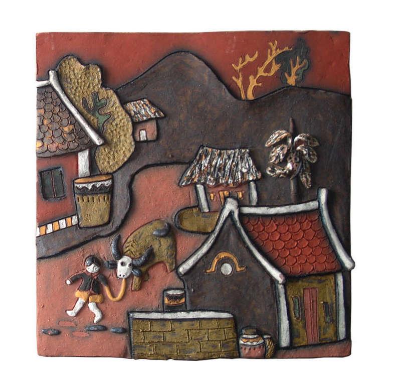 Tranh gốm dắt trâu đường làng,Tranh gốm Phù Lãng
