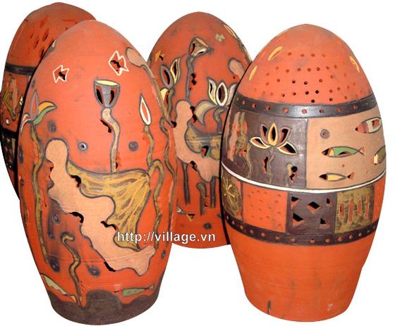 Đèn gốm hình quả trứng