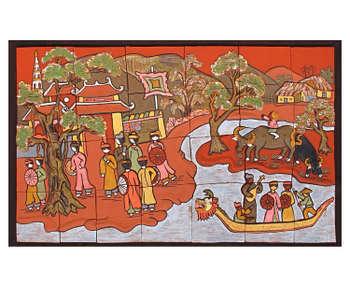 Tranh hát dưới thuyền, làng gốm Phù Lãng