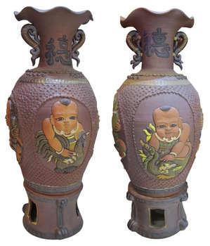 Đôi lộc bình Vinh Hoa - Phú Quý, gốm Phù Lãng