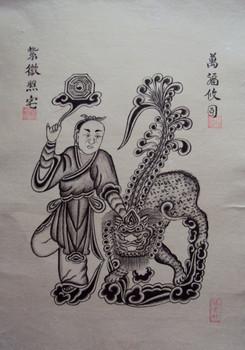 Tranh Đông Hồ cổ vẽ đen trắng (Lân)