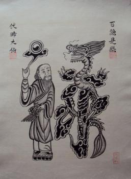 Tranh Đông Hồ cổ vẽ đen trắng (Long)