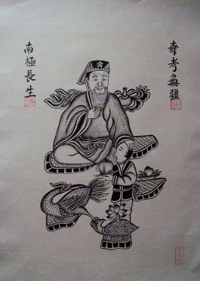 Tranh Đông Hồ cổ vẽ đen trắng (Qui)
