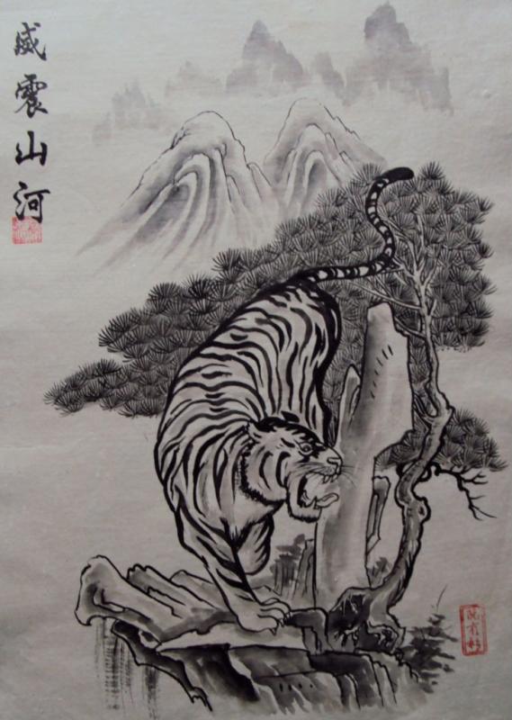 Tranh Đông hồ hình con Hổ xuống núi