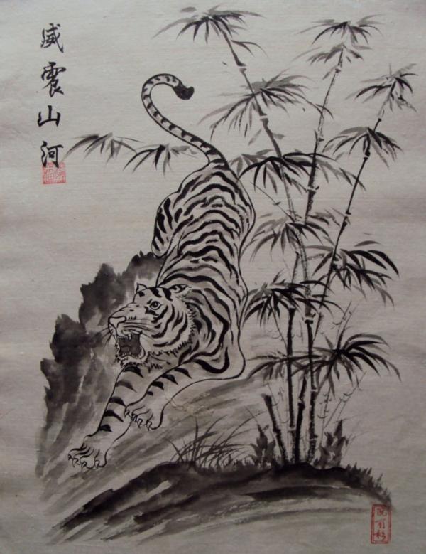 Tranh Đông hồ hình con Hổ bên khóm trúc