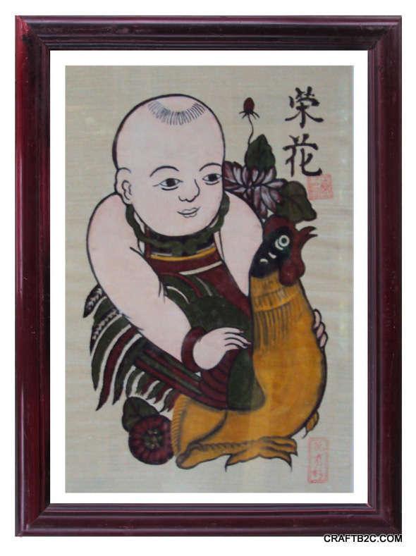Tranh Đông Hồ Vinh Hoa -em bé ôm gà, chất liệu giấy điệp