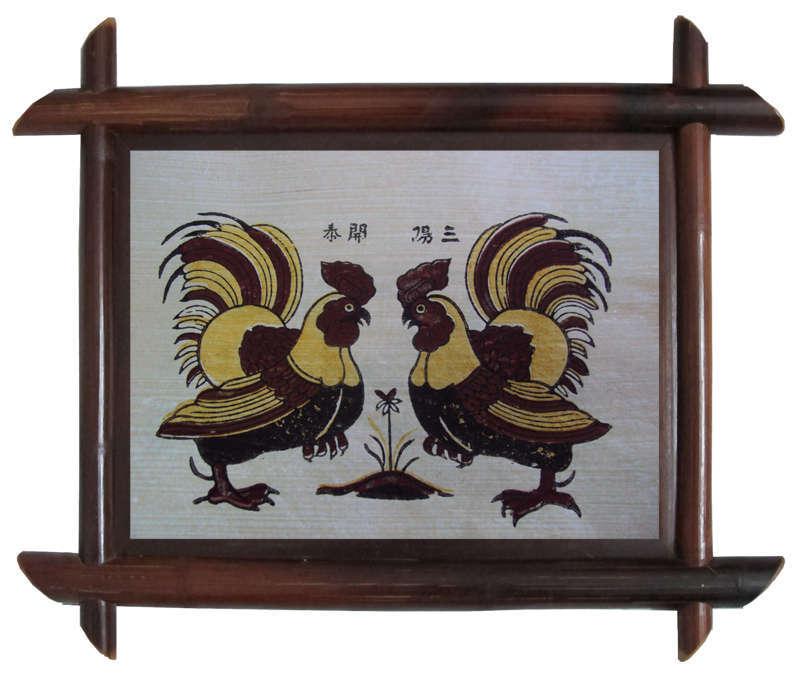 Tranh Đông Hồ Gà Chọi - hai chú gà trống quay đầu vào nhau