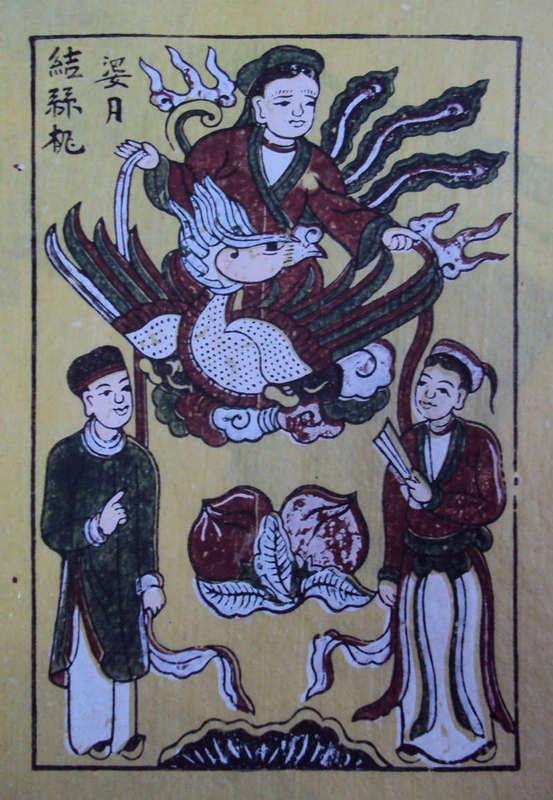 Tranh Đông Hồ bà Nguyệt se duyên, chất liệu giấy điệp