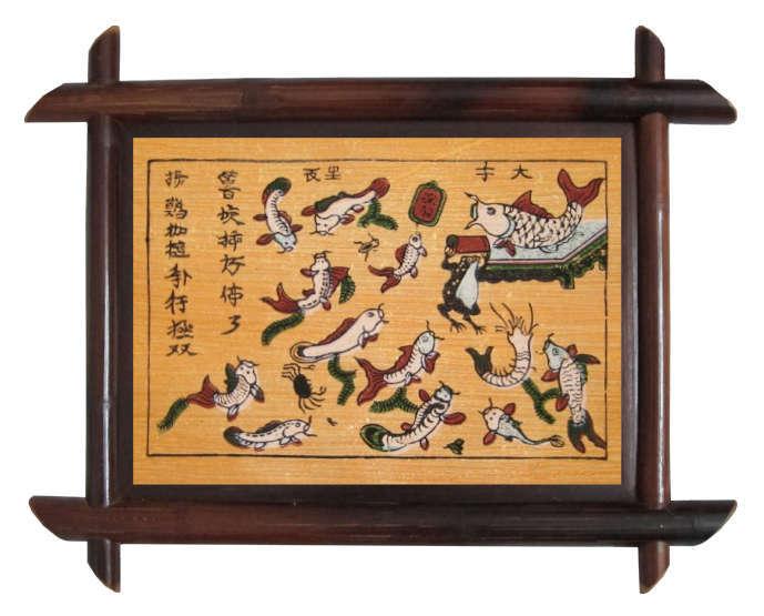 Tranh  Đông hồ Trê Cóc Kiện Nhau, chất liệu giấy điệp