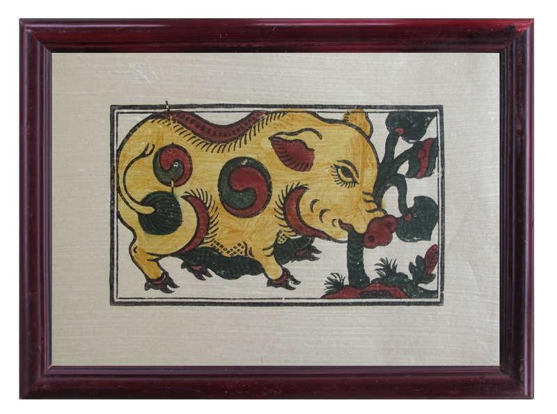 Tranh Đông Hồ Lợn ăn lá ráy, chất liệu giấy dó bồi điệp