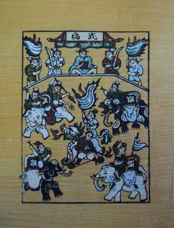 Tranh Đông Hồ Trần Quốc Tuấn đánh tan quân giặc