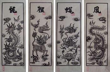 Tranh Đông Hồ Tứ Linh: Long, Lân, Quy, Phượng - chất liệu giấy dó bồi điệp