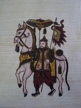 Tranh Đông Hồ Ngựa Hồng, chất liệu giấy dó bồi điệp