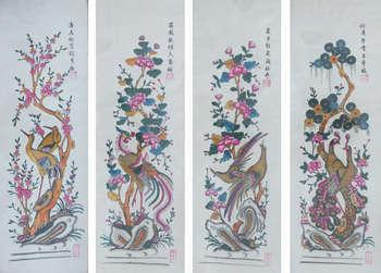 Tranh Đông hồ Tứ quý: Tùng, Cúc, Trúc, Mai trên chất liệu giấy điệp