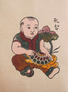 Tranh Đông Hồ Lễ Trí - em bé ôm rùa, chất liệu giấy dó bồi điệp