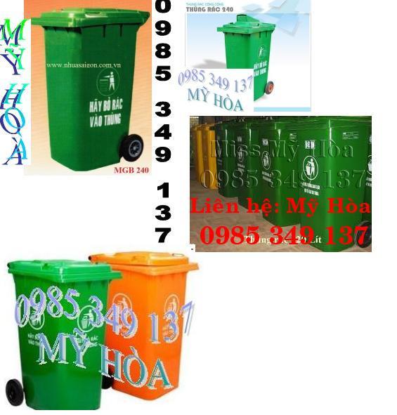 Mỹ Hòa 0985 349 137 bán thùng rác công cộng, xe đẩy rác 660 lít, 1100 lít