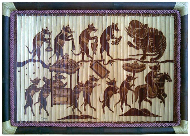 Tranh tre Đám Cưới Chuột, chất liệu tre hun khói