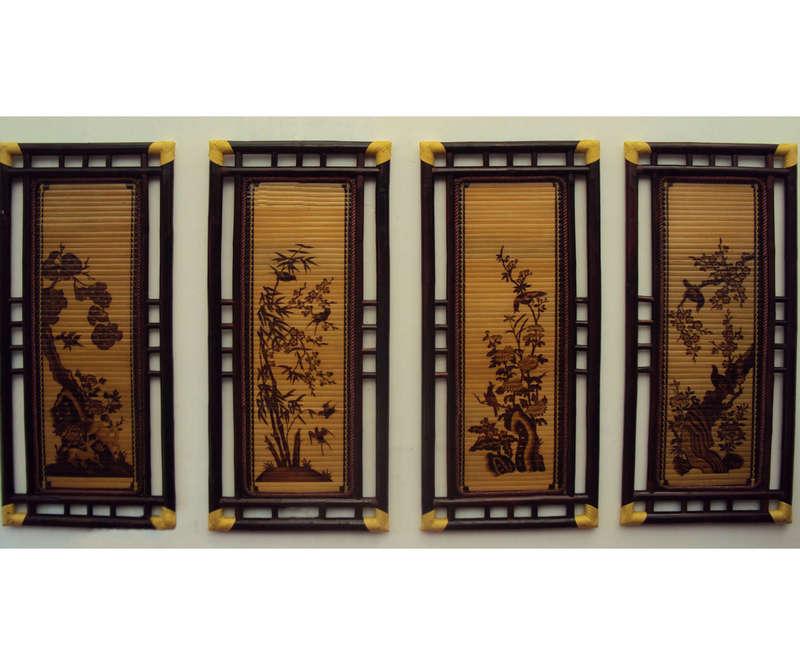 Bộ tranh Tứ Quý - Tùng, Cúc, Trúc, Mai - khung tre tai kép