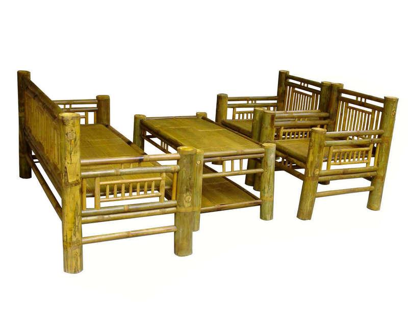 Bộ trường kỷ màu vàng tre Ngà sang trọng, làng nghề mây tre đan Xuân Lai