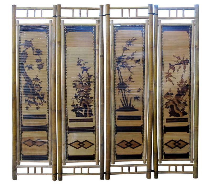 Bình phong Tứ Quý màu vàng tre ngà - làng nghề Xuân Lai