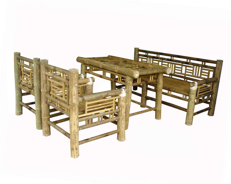 Bộ trường kỷ màu vàng tre Ngà, làng nghề mây tre đan Xuân Lai
