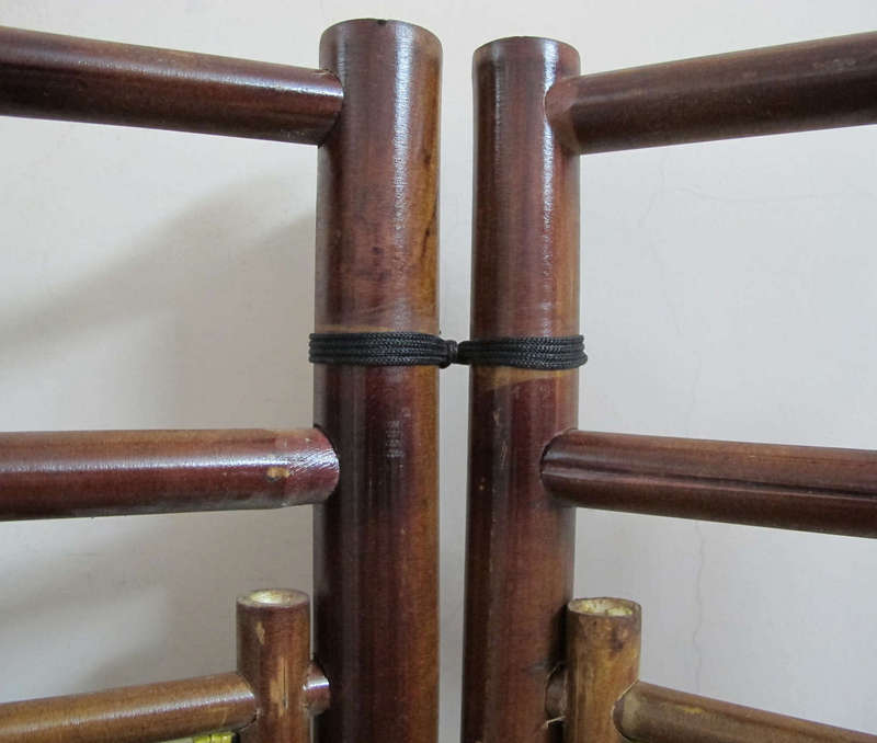 Bình phong tứ quý hai ngăn - được làm từ tre hun khói