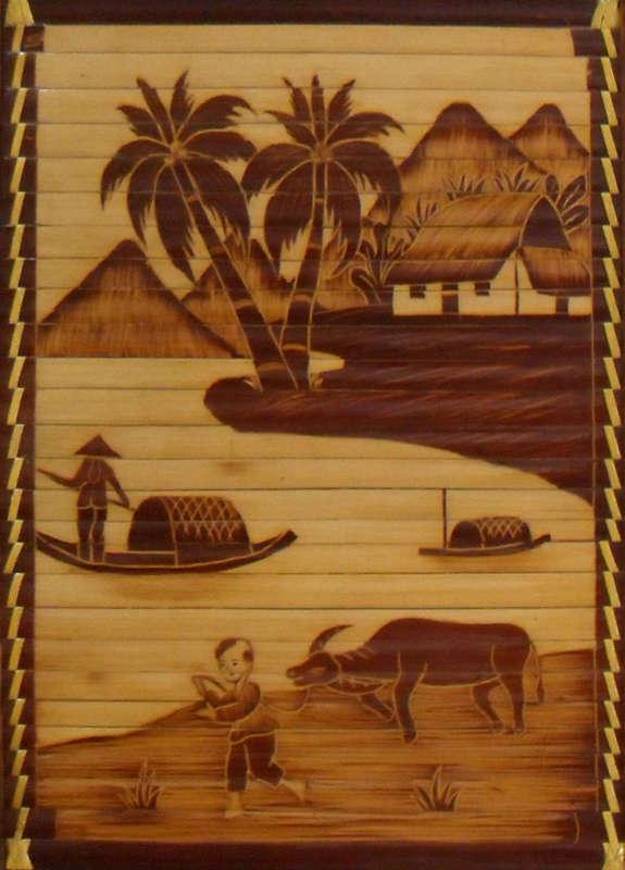 Tranh tre Xuân Lai - thuyền trên sông - tre hun khói