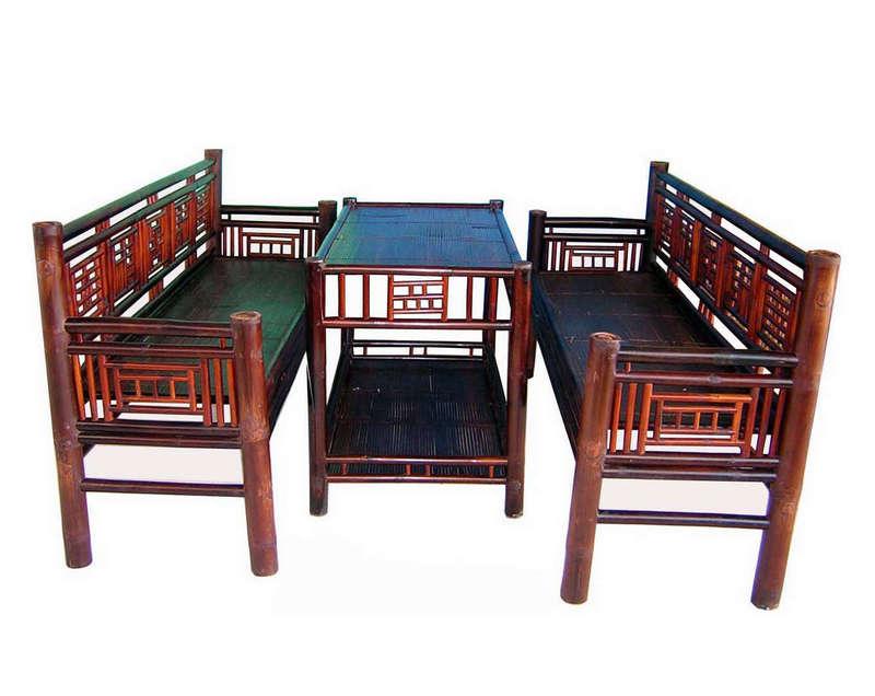 Bộ trường kỷ hai ghế dài, màu nâu cánh dán